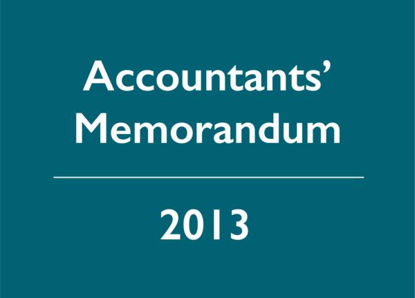 2013 Accountants' Memorandum