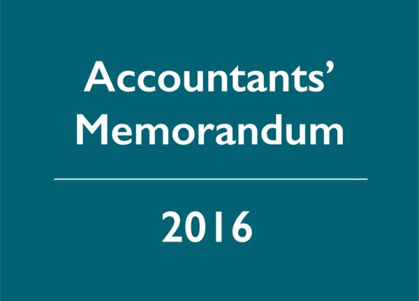 2016 Accountants' Memorandum